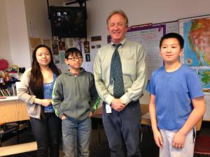 Teacher Steve Cox with students