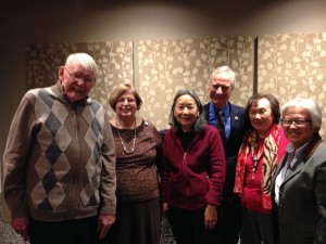 Networking with other Japanese American associations, December 11, 2015. L to R: Dean Potter (freelance writer), Jo Ann Blatchley (President of the St. Paul-Nagasaki Sister City Committee), Gloria Kumagai, Ben van Lierop (Executive Director, Japan America Society of Minnesota), Sally Sudo, and Janet Carlson.