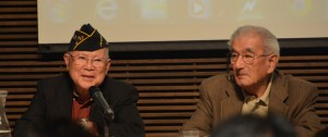 Featured panelists, Edwin (Bud) Nakasone and Albert Yamamoto, sharing their experiences serving as MIS soldiers at Historic Fort Snelling Visitors Center, Sept. 12, 2015.